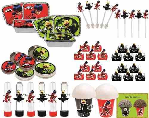 Kit  festa Infantil Lady Bug E Cat Noir 292 Peças (30 pessoas)