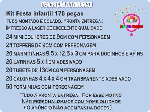 Kit Festa Infantil Unicórnio 178 Pças (20 pessoas)