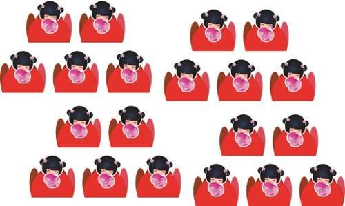 Kit Festa Boneca  Kokeshi Vermelha 143 Peças (20 pessoas)