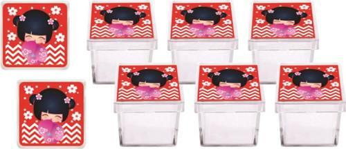 Kit Festa Boneca Kokeshi Vermelha 178 Pças (20 pessoas)