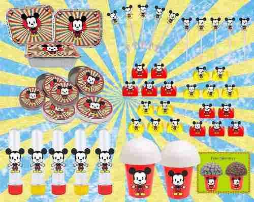Kit festa Mickey Vintage 292 Peças (30 pessoas)