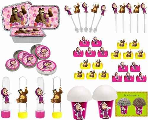 Kit Festa Masha E O Urso (pink E Amarelo) 292 Peças (30 pessoas)