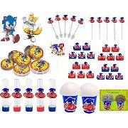 Kit Festa Infantil Sonic 265 Peças (30 pessoas)