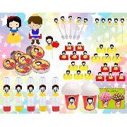 Kit Festa Branca De Neve Baby (cute) 265 Peças (30 pessoas)