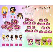 Kit Festa Super Heroínas 265 Peças (30 pessoas)
