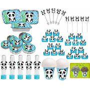 Kit Festa Infantil Panda Menino (azul Claro) 292 Peças (30 pessoas)