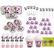 Kit Festa Infantil Panda Menina 106 Peças (10 pessoas)