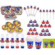 Kit Festa Infantil Sonic 106 Peças (10 pessoas)