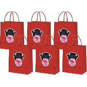 Sacolinhas Boneca Kokeshi Vermelha 10 Unidades