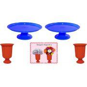 2 mini boleiras e 2 vasos grego vermelho e azul escuro