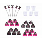 50 forminhas, 50 mini colheres Chá de Lingerie (pink e preto) + 50 copinhos