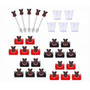 50 forminhas, 50 mini colheres Chá de Lingerie (vermelho) + 50 copinhos