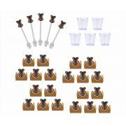 50 forminhas, 50 mini colheres  Chá de Lingerie Oncinha + 50 copinhos