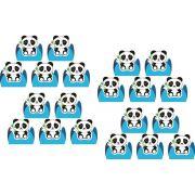 50 forminhas, 50 mini colheres e 50 mini copinhos Panda (azul claro)