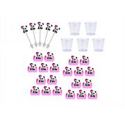 50 forminhas, 50 mini colheres Panda Menina + 50 copinhos