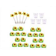 50 forminhas, 50 mini colheres tema Girassol + 50 copinhos