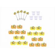 50 forminhas, 50 mini colheres Tardezinha + 50 copinhos de 25 ml