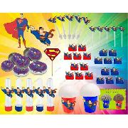 Kit Festa Infantil Super Man 265 Peças (30 pessoas)