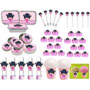 Kit Boneca Japonesa Kokeshi rosa 106 Peças (10 pessoas)