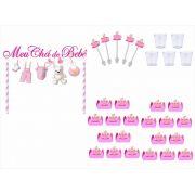 Kit festa Chá de Bebê menina 105 peças (10 pessoas)