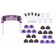 kit festa Chá de Lingerie (lilás e Preto) 173 peças (20 pessoas)
