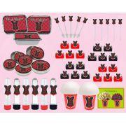 kit festa Chá de Lingerie (vermelho e Preto) 160 peças (20 pessoas)
