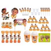 Kit festa decorado  Moana Baby   (laranja) 155 peças  20 pessoas