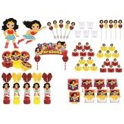 Kit festa decorado  Mulher Maravilha Baby 113 peças (10 pessoas)