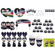 Kit festa decorado  Now United  (preto) 155 peças  20 pessoas