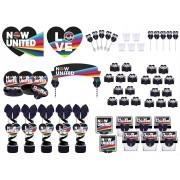 Kit festa decorado  Now United (preto) 173 peças (20 pessoas)