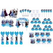 Kit festa decorado Frozen 2 (azul)  173 peças (20 pessoas)