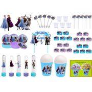 Kit festa Frozen 2 (155 peças) (lilás e azul claro)  20 pessoas