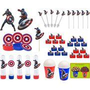 Kit Festa Infantil Capitão América 265 Peças (30 pessoas)