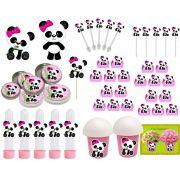 Kit Festa Infantil Panda Menina 265 Peças (30 pessoas)
