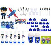 kit Festa Menino Aviador 155 peças (20 pessoas)