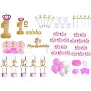 Kit festa Meu 1º aninho Realeza menina 363 peças (20 pessoas)