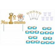 Kit festa Meu 1ºaninho Ursinho Príncipe 61 peças