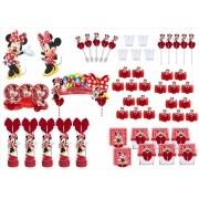 Kit festa decorado Minnie vermelha  113 peças (10 pessoas)