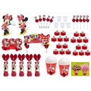 Kit festa decorado  Minnie vermelha 105 peças (10 pessoas)