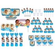 Kit festa decorado Moana Baby (azul) 121 peças (10 pessoas)