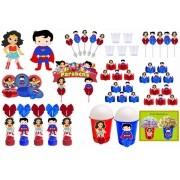 Kit festa Mulher Maravilha Baby e Super Man Baby 105 peças (10 pessoas)
