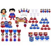 Kit festa decorado  Mulher Maravilha Baby e Super Man Baby 113 peças (10 pessoas)