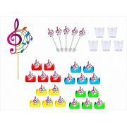 Kit festa Notas Musicais colorido 61 peças