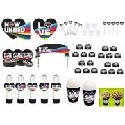 Kit festa Now United (preto) 155 peças  (20 pessoas)