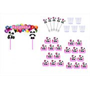 Kit Festa Panda Menina 105 peças (10 pessoas)