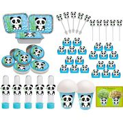 Kit Festa Panda Menino Azul 160 Peças (20 pessoas)