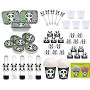 Kit festa Panda (preto e branco) 152 peças (20 pessoas)