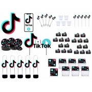 Kit festa Tik Tok (preto) 113 peças (10 pessoas)