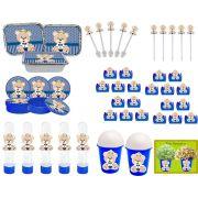 Kit Festa Ursinho Príncipe Azul Escuro 106 Peças (10 pessoas)