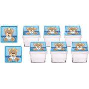 Kit Festa Urso Príncipe Azul claro 107 peças (10 pessoas)